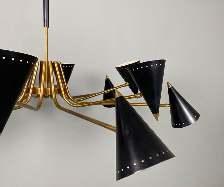Stilnovo Midcentury Twelve-Arm Brass Italian Chandelier, 1960 For Sale 2