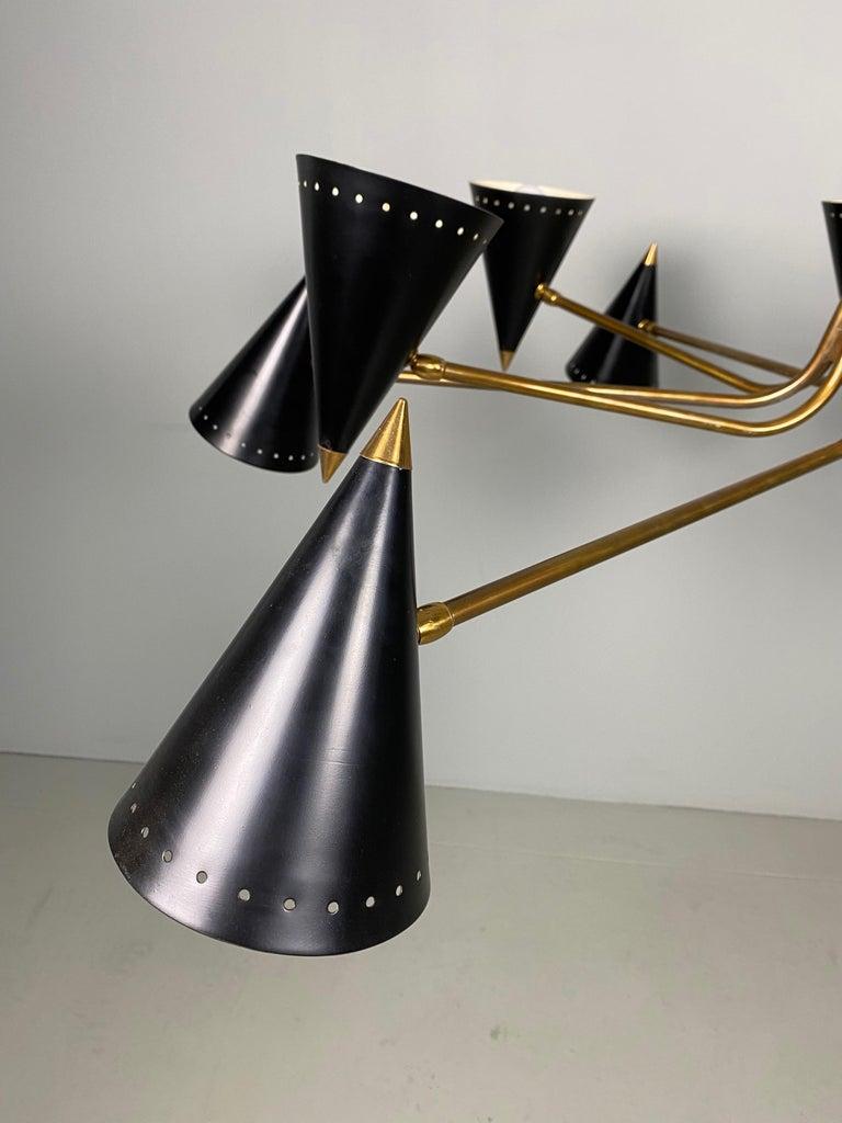 Stilnovo Midcentury Twelve-Arm Brass Italian Chandelier, 1960 For Sale 3
