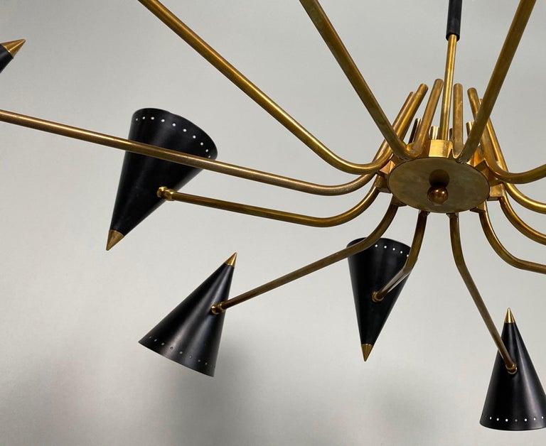 Stilnovo Midcentury Twelve-Arm Brass Italian Chandelier, 1960 For Sale 4