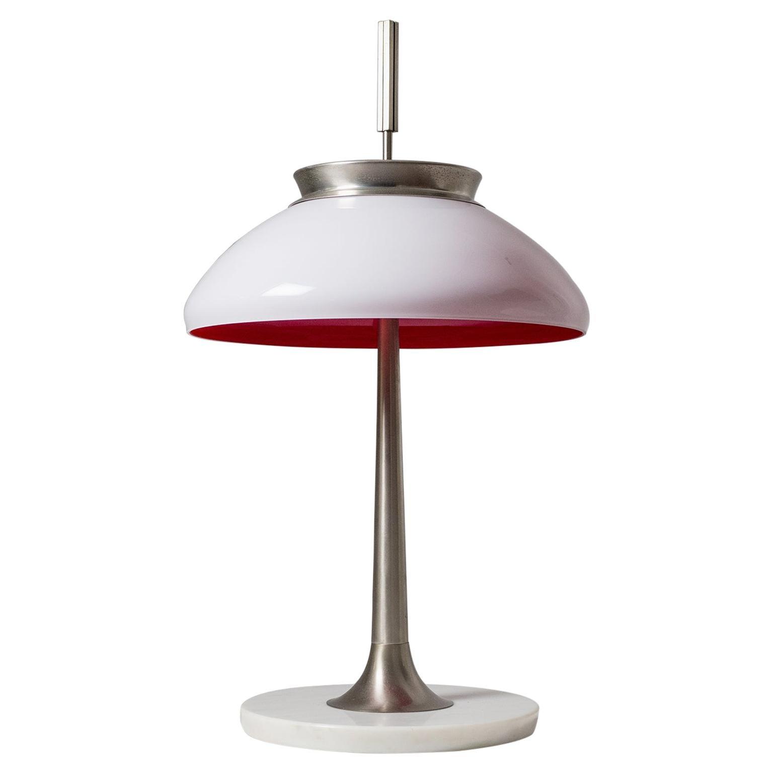 Stilnovo Table Lamp, 1950s, Nickel and Glass