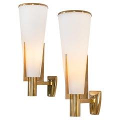 Stilnovo Model 2021/1 Brass & Glass Sconces, Italy, 1960s
