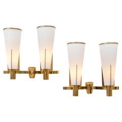 Stilnovo Model 2021/2 Brass & Satin Glass Two Shade Sconces, Italy 1960s