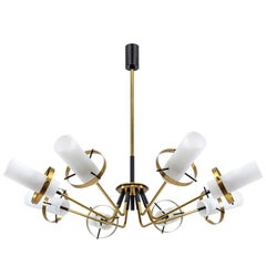 Stilnovo Modernist Chandelier, Brass and Satin Glass, 1950s