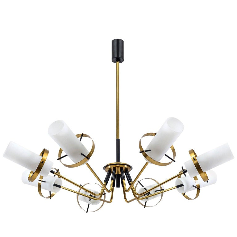 Stilnovo Modernist Chandelier, Brass and Satin Glass, 1950s For Sale