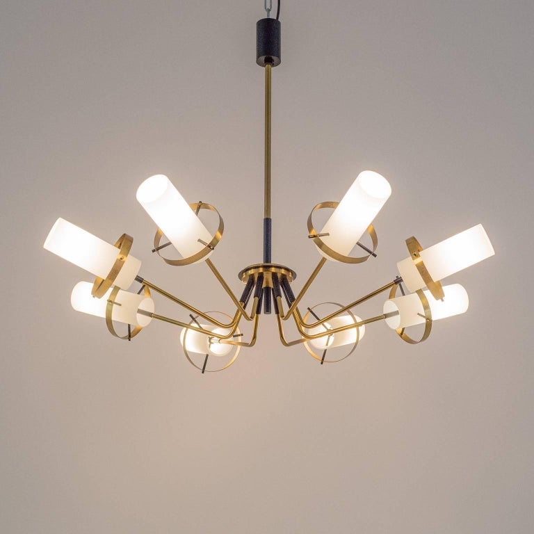 Stilnovo Modernist Chandelier, Brass and Satin Glass, 1950s For Sale 4