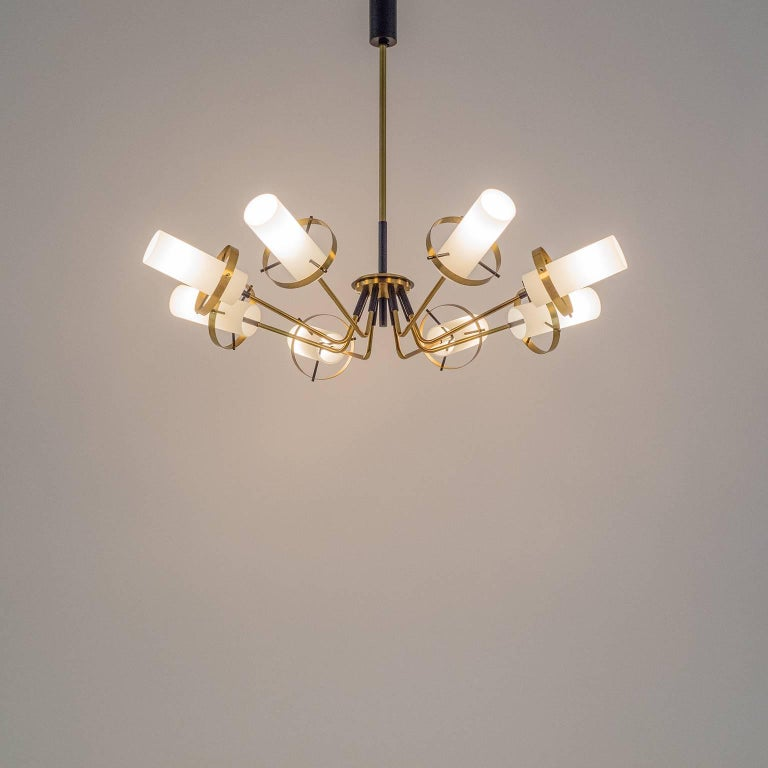 Stilnovo Modernist Chandelier, Brass and Satin Glass, 1950s For Sale 5
