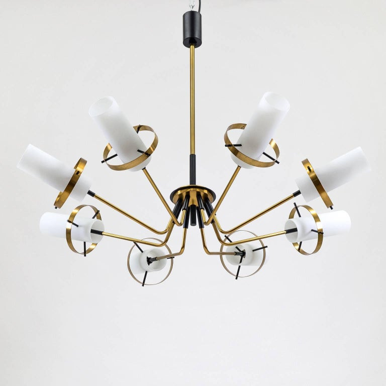 Mid-Century Modern Stilnovo Modernist Chandelier, Brass and Satin Glass, 1950s For Sale