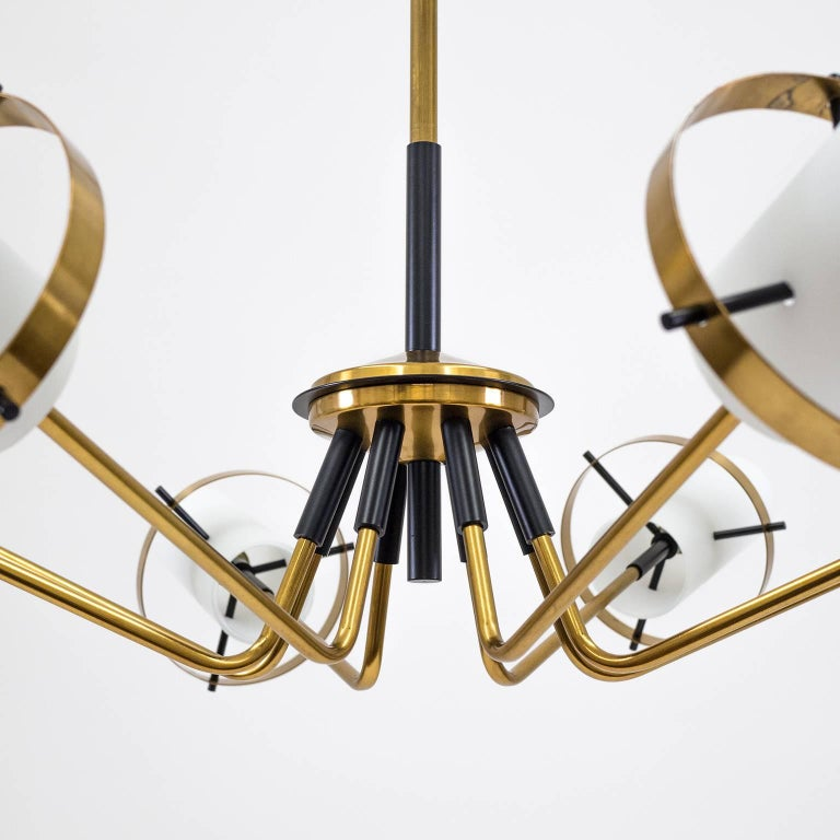 Italian Stilnovo Modernist Chandelier, Brass and Satin Glass, 1950s For Sale