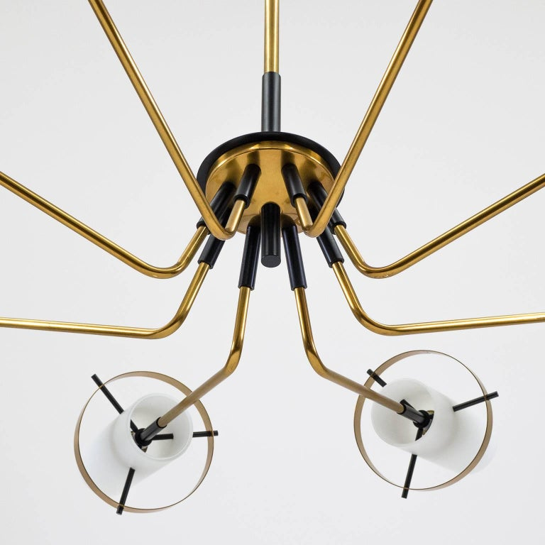 Mid-20th Century Stilnovo Modernist Chandelier, Brass and Satin Glass, 1950s For Sale