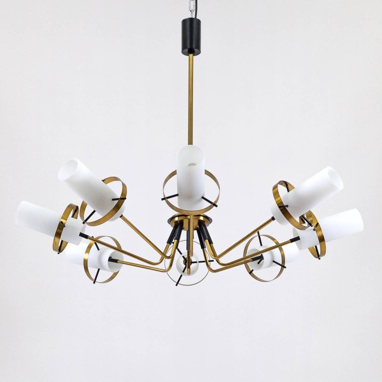 Stilnovo Modernist Chandelier, Brass and Satin Glass, 1950s For Sale 2