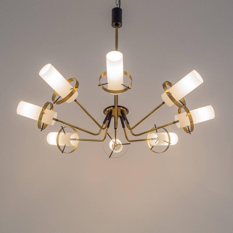 Stilnovo Modernist Chandelier, Brass and Satin Glass, 1950s For Sale 3