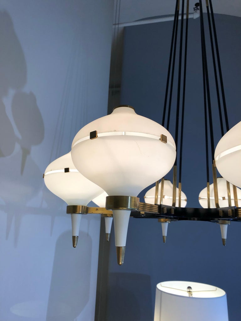 Mid-Century Modern Modernist Eight-Light Chandelier For Sale