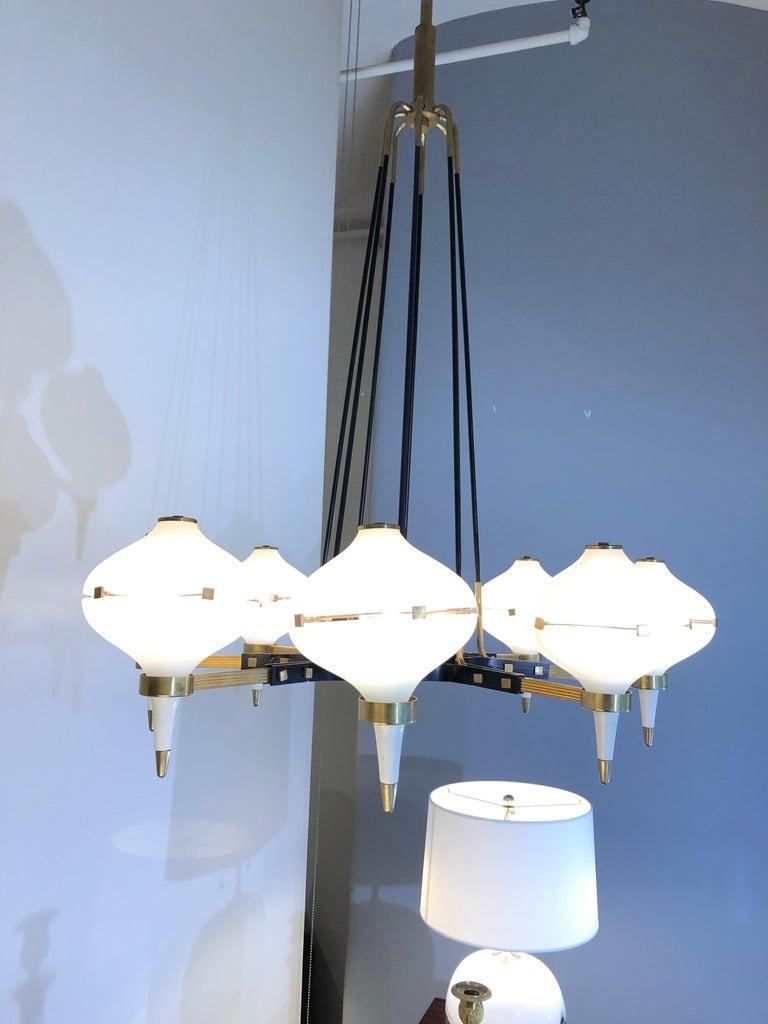 Italian Modernist Eight-Light Chandelier For Sale