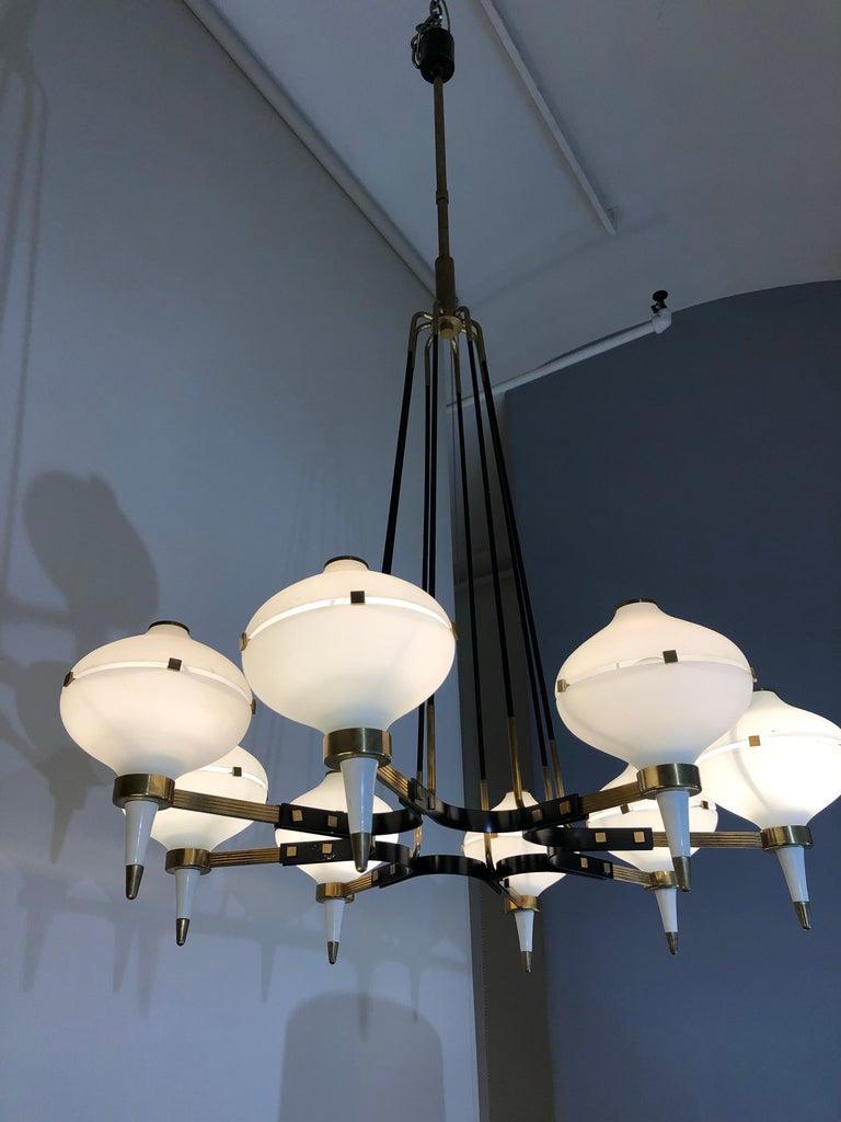 Enameled Modernist Eight-Light Chandelier For Sale