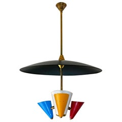 Stilnovo Modernist Flying Saucer Sputnik Chandelier in Black, Red, Blue & Yellow