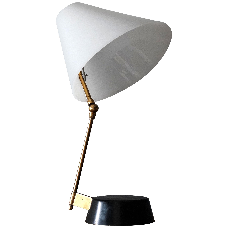 Stilnovo, Modernist Table Lamp, Metal, Brass, Acrylic, Italy, 1950s