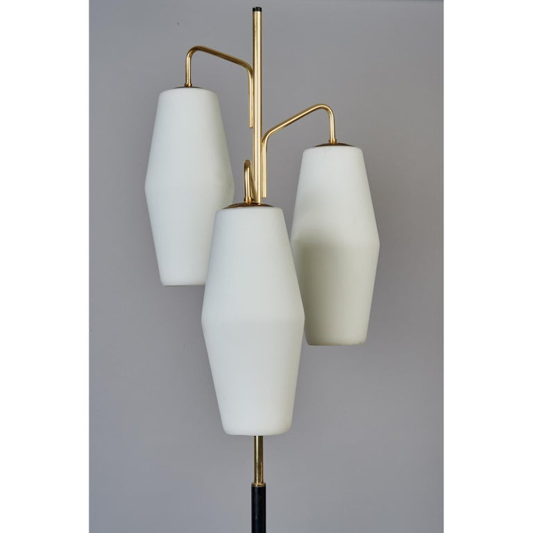 Italian Stilnovo Monumental Floor Lamp in Marble and White Glass, Italy 1950's For Sale