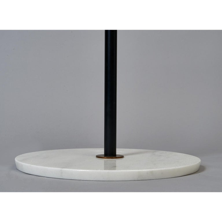 Mid-20th Century Stilnovo Monumental Floor Lamp in Marble and White Glass, Italy 1950's For Sale
