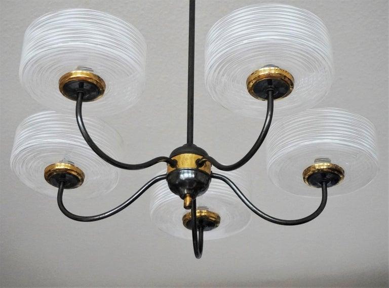 Italian Stilnovo Murano Glass Brass Five-Arm Chandelier, Italy, 1950-1959 For Sale