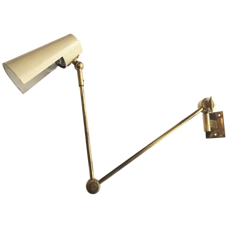 Stilnovo Original Adjustable Wall Lamp, 1950 For Sale