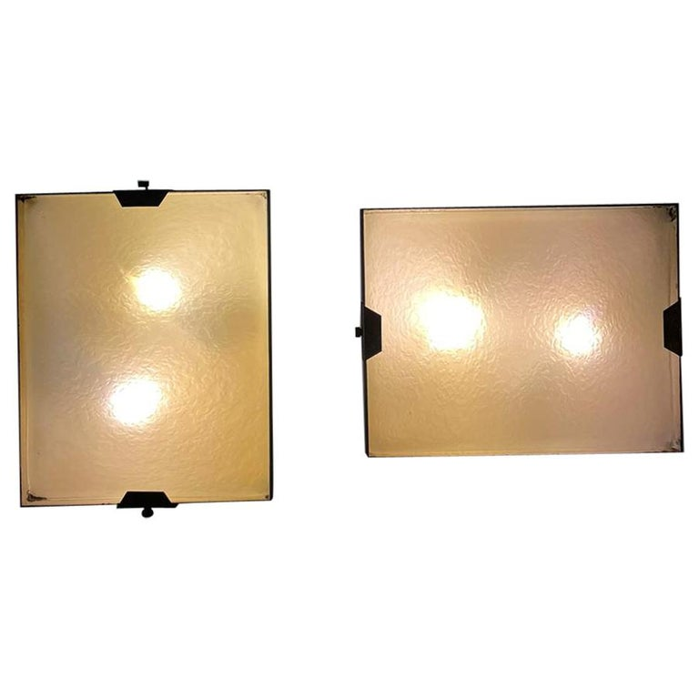 Stilnovo Pair of Rectangular Wall Lamp Lacquered Metal Glass, Italy, 1950s For Sale
