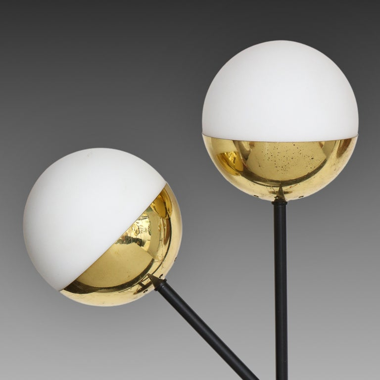 Mid-Century Modern Stilnovo Pair of Modernist Brass and Opaque Glass Sconces For Sale