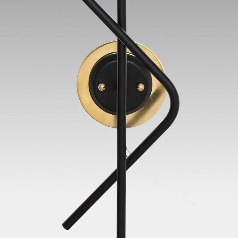 Italian Stilnovo Pair of Modernist Brass and Opaque Glass Sconces For Sale