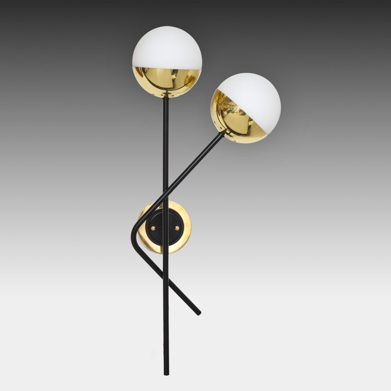 Frosted Stilnovo Pair of Modernist Brass and Opaque Glass Sconces For Sale