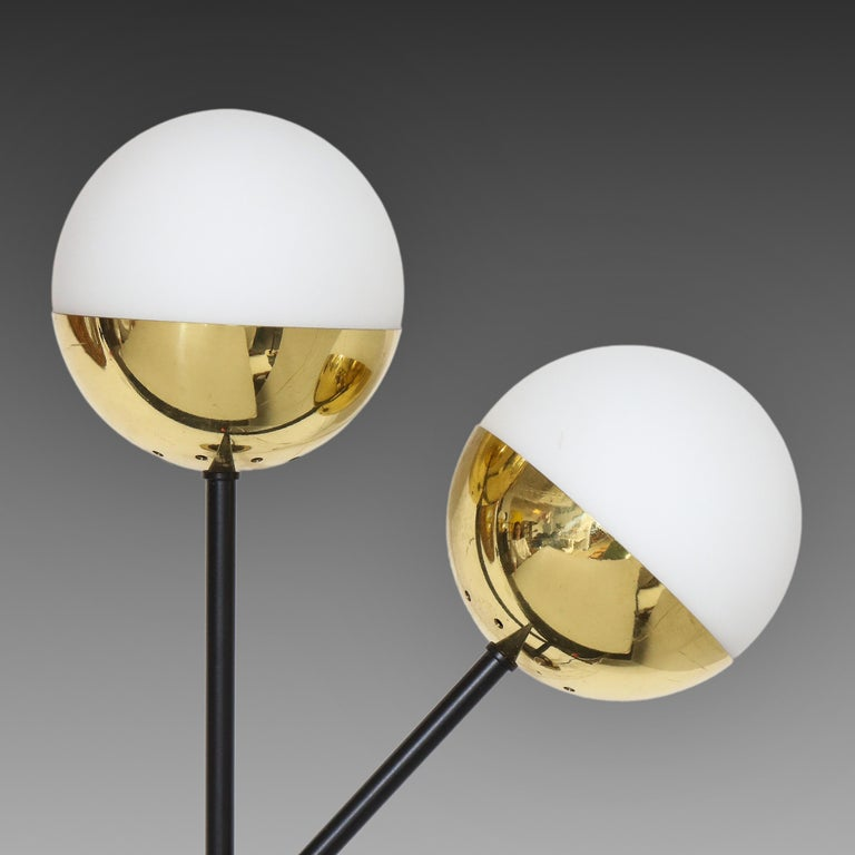 Stilnovo Pair of Modernist Brass and Opaque Glass Sconces In Good Condition For Sale In New York, NY