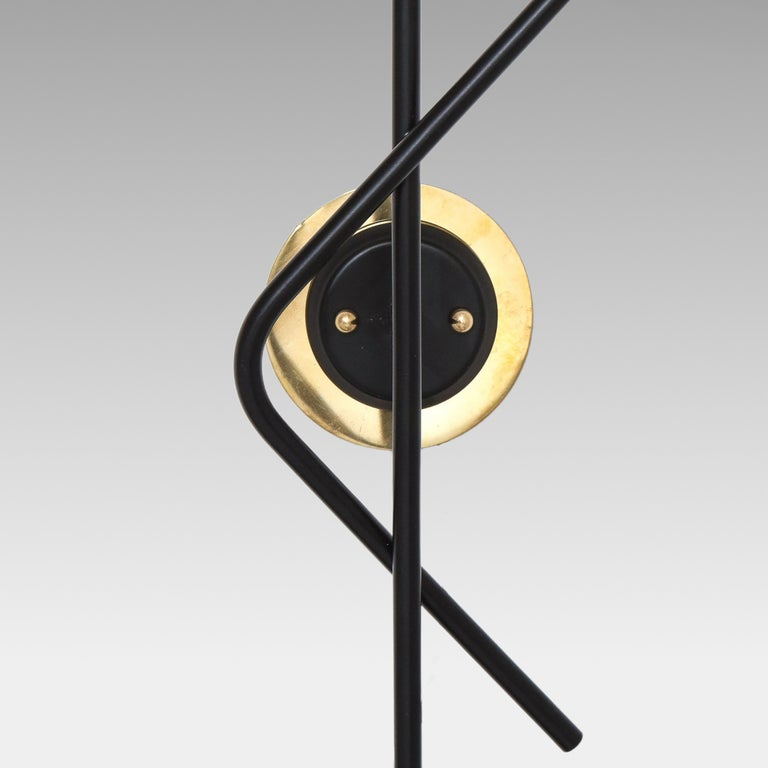 Mid-20th Century Stilnovo Pair of Modernist Brass and Opaque Glass Sconces For Sale