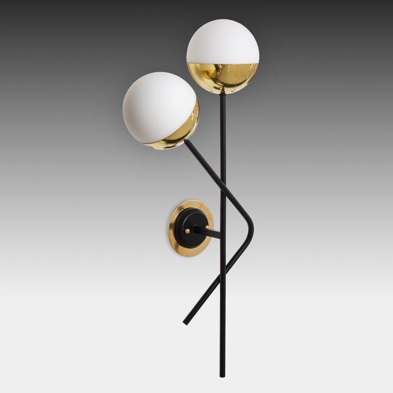 Stilnovo Pair of Modernist Brass and Opaque Glass Sconces For Sale 1