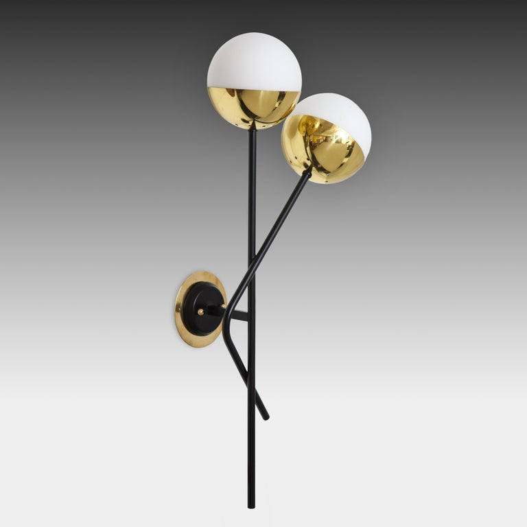 Stilnovo Pair of Modernist Brass and Opaque Glass Sconces For Sale 2