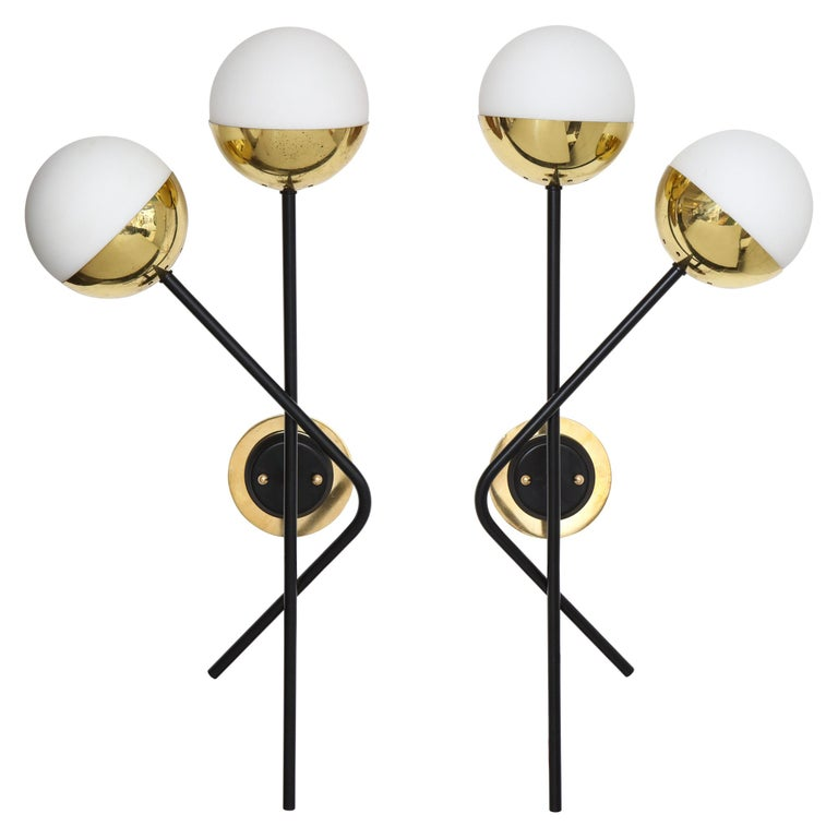 Stilnovo Pair of Modernist Brass and Opaque Glass Sconces For Sale