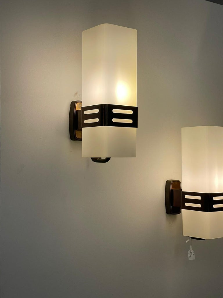 Mid-Century Modern Stilnovo Pair of Wall Lights Brass Opal Glass, Italy, 1960s For Sale