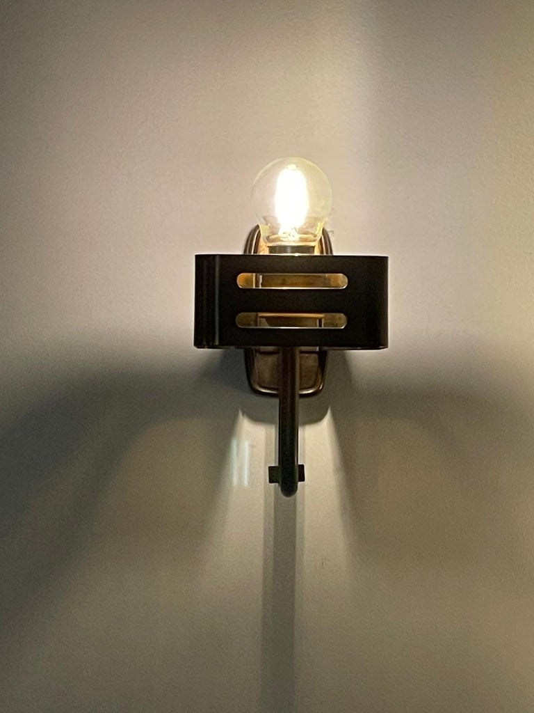Stilnovo Pair of Wall Lights Brass Opal Glass, Italy, 1960s For Sale 2
