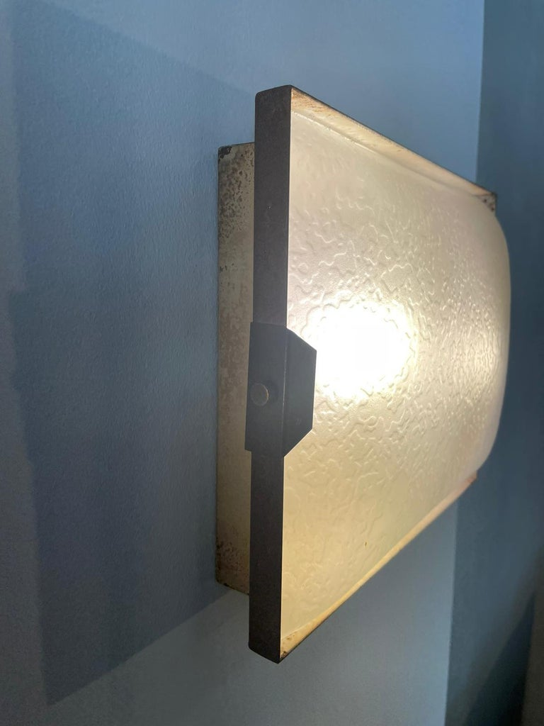 Mid-Century Modern Stilnovo Pair of Rectangular Wall Lamp Lacquered Metal Glass, Italy, 1950s For Sale