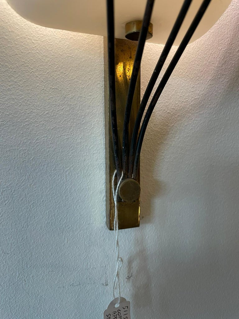 Italian Stilnovo Style Pair Wall Lamp White Opalin Glass and Brass Italy Patina 1950 For Sale