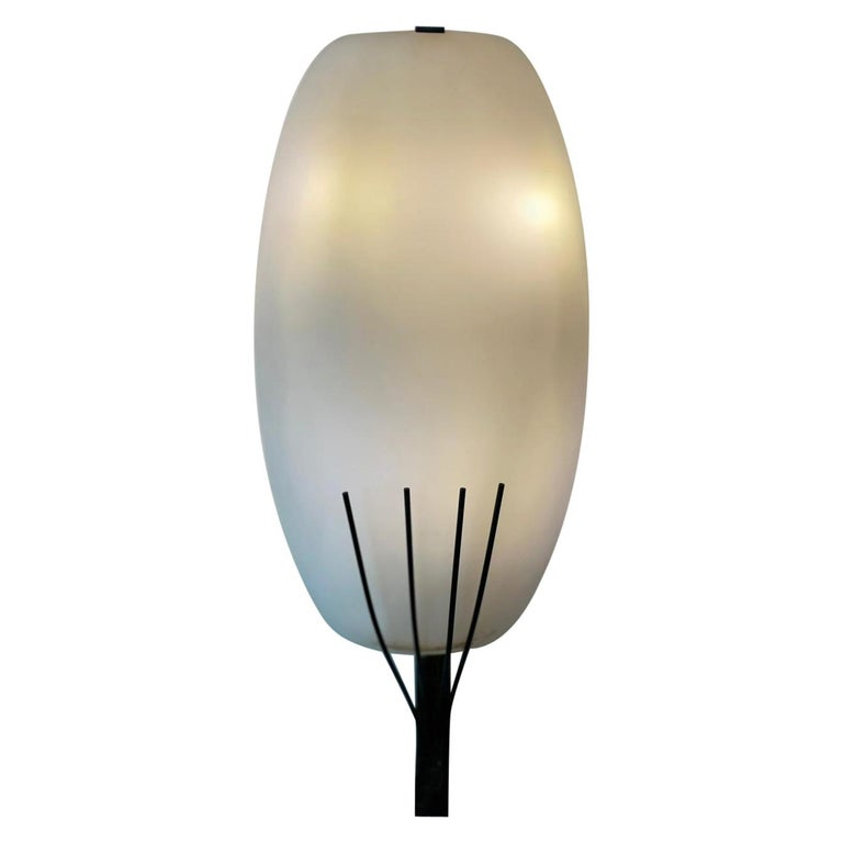 Stilnovo Style Pair Wall Lamp White Opalin Glass and Brass Italy Patina 1950 For Sale