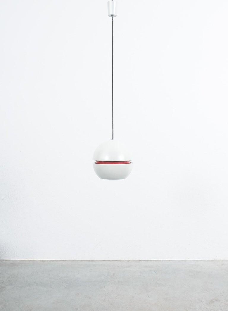 Italian Stilnovo Pearl White Red Globe Pendant Lamp, circa 1965 For Sale