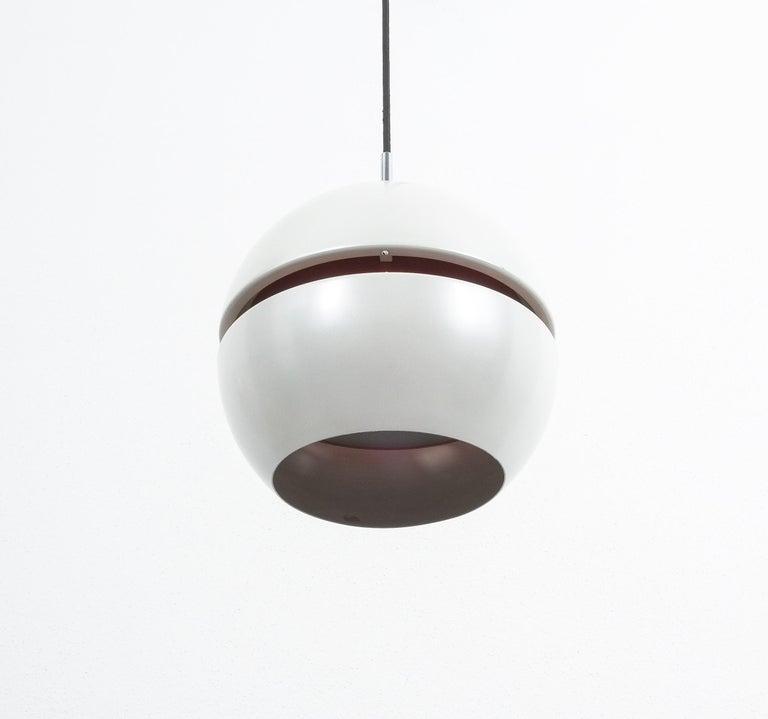 Enameled Stilnovo Pearl White Red Globe Pendant Lamp, circa 1965 For Sale