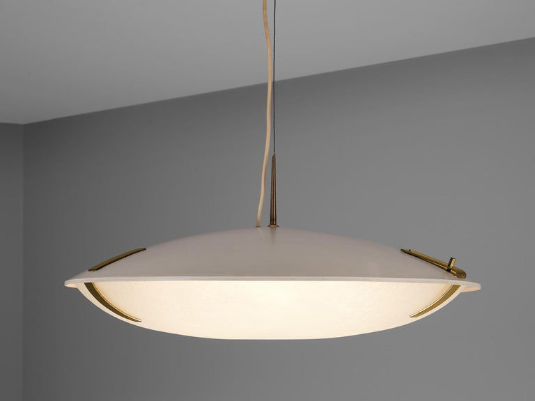 Stilnovo, pendant '1140', aluminium, glass, brass, Italy, circa 1960