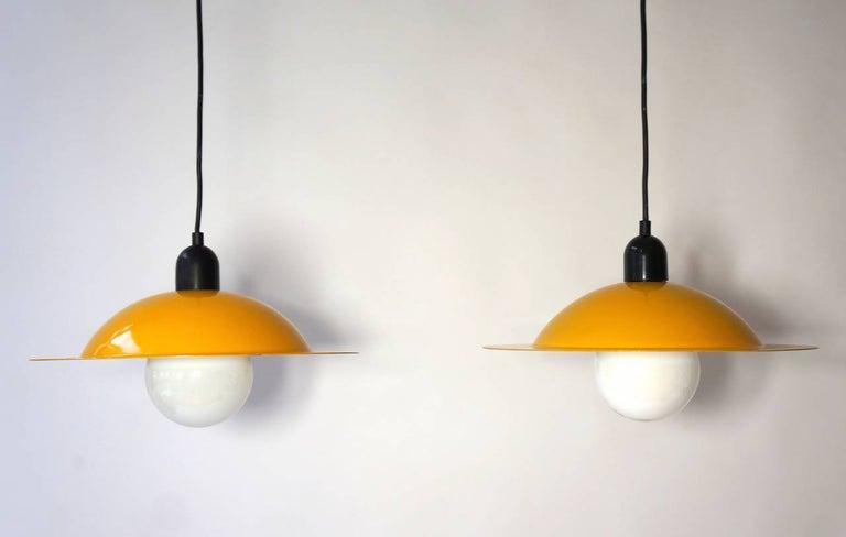 Hollywood Regency Two Stilnovo Pendant Lamps For Sale