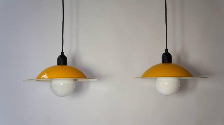 Italian Two Stilnovo Pendant Lamps For Sale