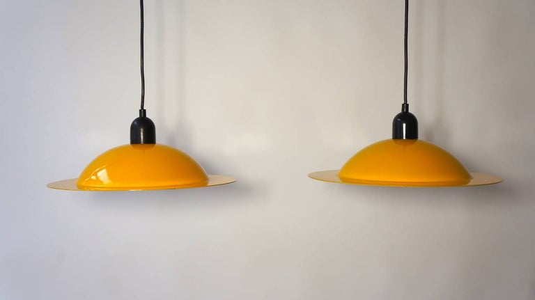 20th Century Two Stilnovo Pendant Lamps For Sale