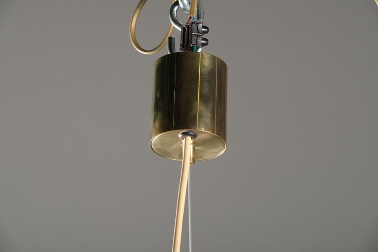 Mid-20th Century Stilnovo Pendant Lamp in Glass, Italian Design, 1950s For Sale