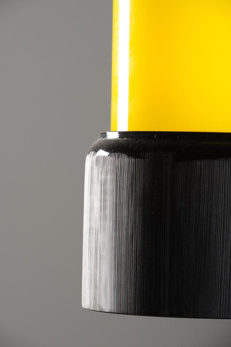 Brass Stilnovo Pendant Lamp in Glass, Italian Design, 1950s For Sale