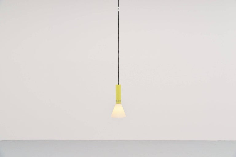 Cold-Painted Stilnovo Pendant Lamp Model 1135, Italy 1960 For Sale