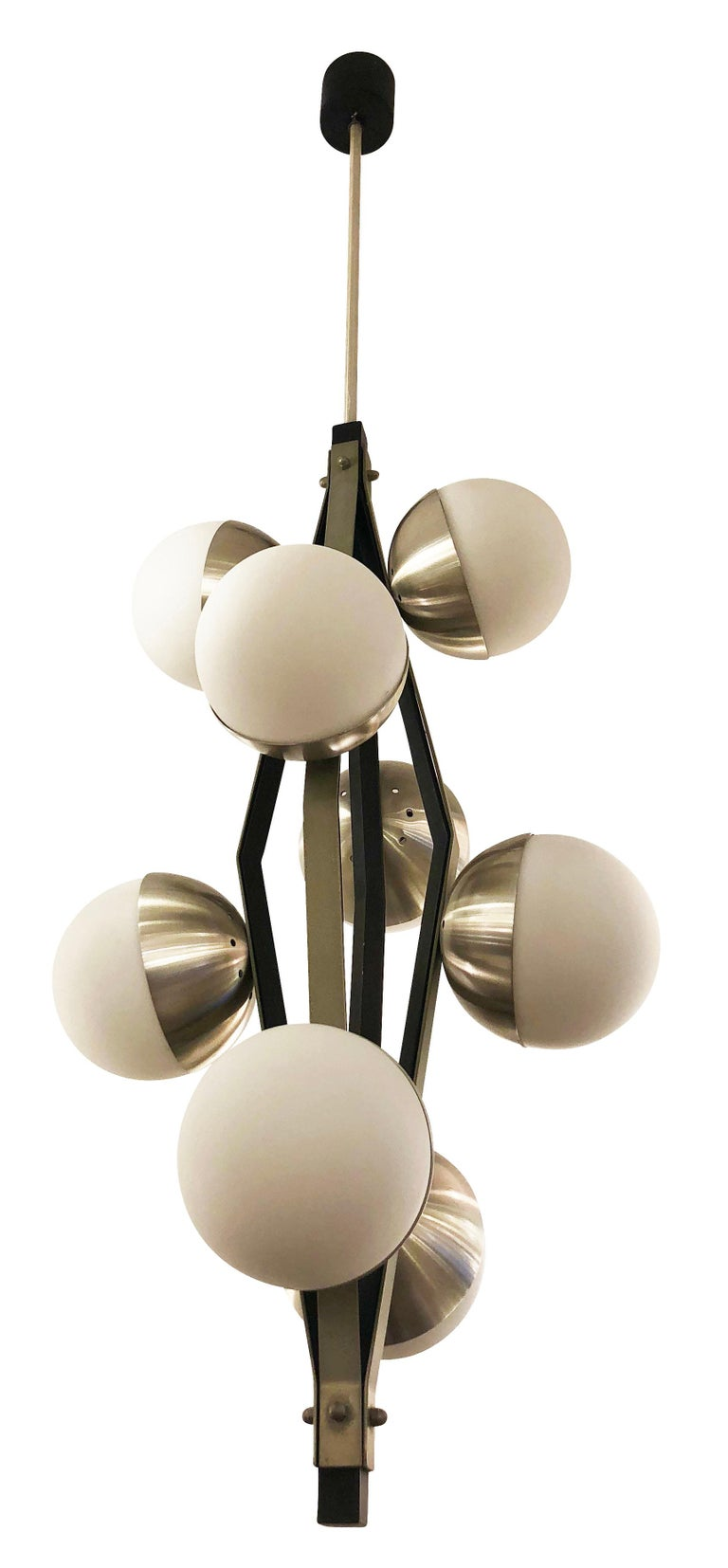 """Stilnovo pendant with eight frosted glass shades on a satin nickel and black lacquered frame. Holds eight candelabra sockets. Height of stem can be adjusted as needed.  Measures: Diameter 15""""  Height 44""""."""