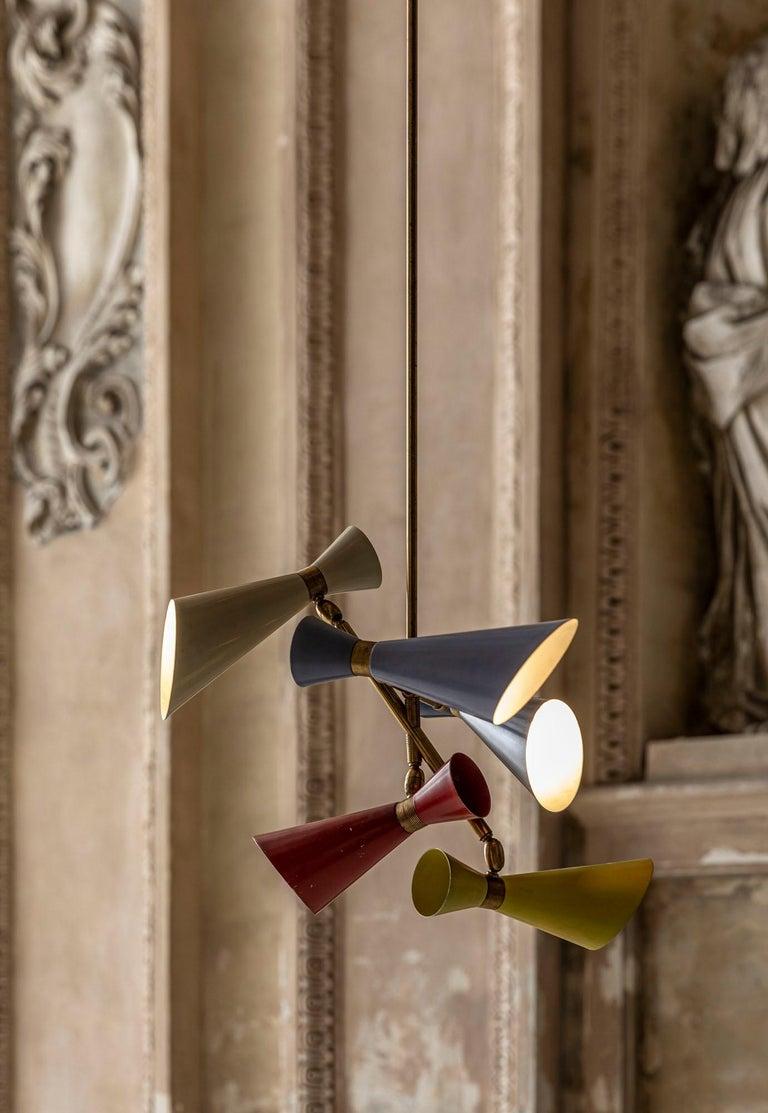 Mid-Century Modern Stilnovo Pendant with Five Lights For Sale