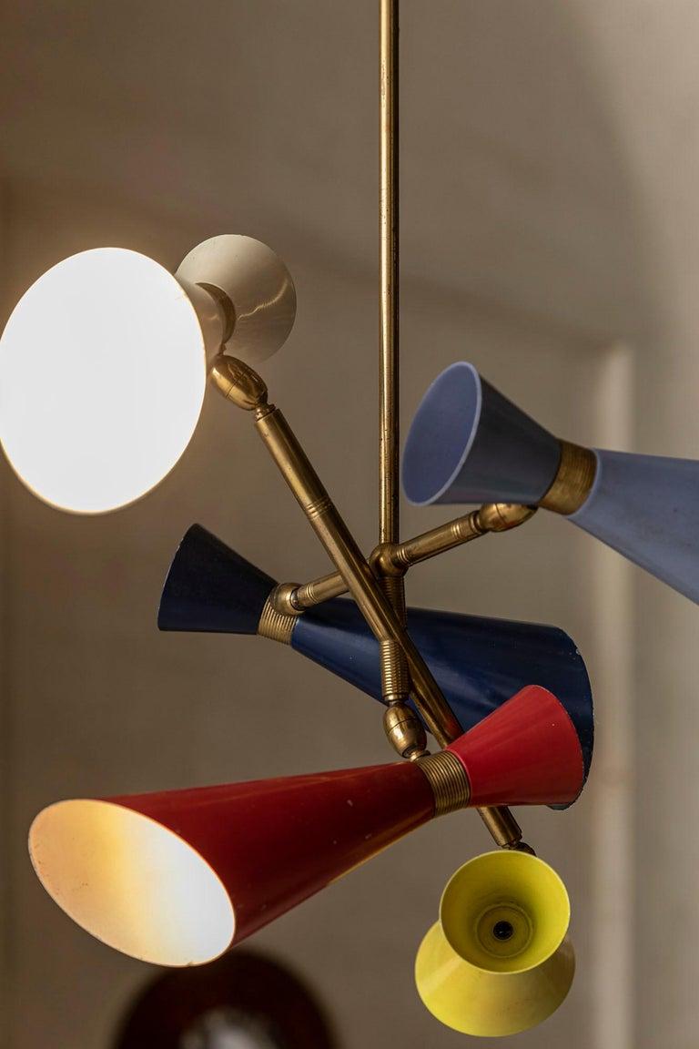 Brass Stilnovo Pendant with Five Lights For Sale